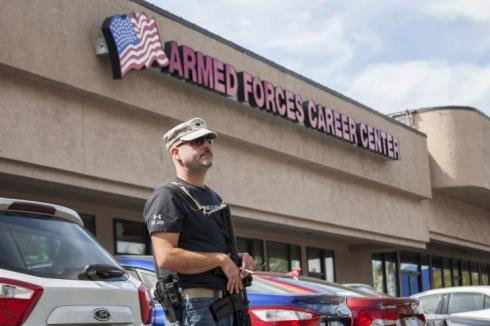 Armed civilians around the country stood guard outside of recruiting centers to protect our service men and women since they were not allowed to protect themselves.