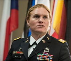 Transgender US Army Reseve Captain Sage Fox speaks at a conference on