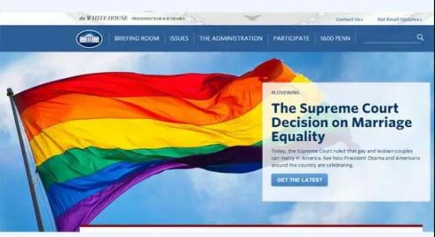 The White House website banner was replaced with a large sodomite rainbow flag after the Supreme Court made same sex marriage legal across America, and a caption stating: